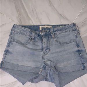 pacsun light washed denim super stretch shorts